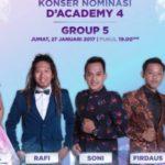 Jadwal Konser Nominasi D'Academy 4: Peserta DA4 Grup 5 Babak 35 Besar Nanti Malam 27 Januari 2017