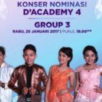 Hasil D'Academy 4 Tadi Malam: Siapa Yang Tersenggol di Konser Nominasi DA4 Grup 3 Babak 35 Besar 25 Januari 2017?